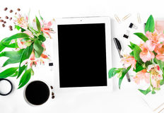 Workspace with tablet with blank screen, office accessories, cof. Workspace with tablet with blank screen, different office accessories, cup of coffee and Stock Photography