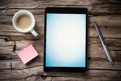 Workspace with tablet and coffee Royalty Free Stock Photography