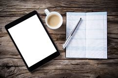 Workspace with tablet and coffee Royalty Free Stock Photo