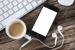 Workspace with tablet and coffee Stock Photography