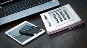 Workspace. Technology on the table Royalty Free Stock Images