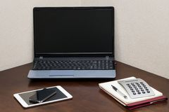 Workspace. Technology on the table Stock Photography