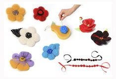 Workshop felting wool for beginners with tools. Workspace with tools needle and skeins of felting wool for jewellery master class top view Royalty Free Stock Photography
