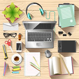 Workspace top view. Office desk Royalty Free Stock Images