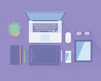 Workspace Top View Royalty Free Stock Photo
