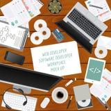 Workspace of the web developer, software developer. Mock up Royalty Free Stock Images