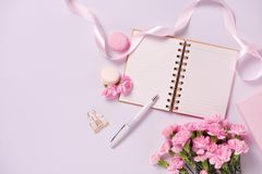 Mockup planner flat lay. Accessory on the table. View top. White background, still life. Events and party desktop. Feminine scene. stock images