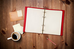 Workspace With Coffee Cup And Notebook Stock Photos