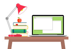 Workspace With Laptop, Lamp And Books Stock Image