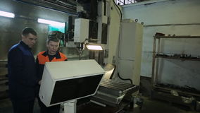 Workspace workshop for CNC machine and workers. stock video