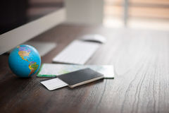 Workspace of a world traveler Stock Image