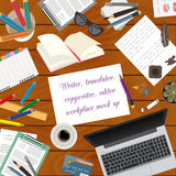 Workspace of the writer, translator, copywriter, editor. Mock up Royalty Free Stock Images