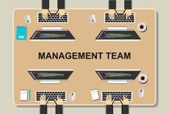 Workspaceillustration Kontorsworkspacebegrepp Plana designillustrationbegrepp för teamwork, lag, möte, diskussion, worki Arkivfoto