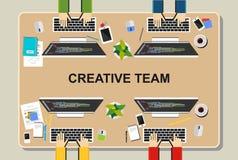 Workspaceillustration Kontorsworkspacebegrepp Plana designillustrationbegrepp för teamwork, lag, möte, diskussion, worki Fotografering för Bildbyråer