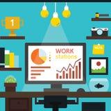 Workstation desk vector, flat design Stock Photos