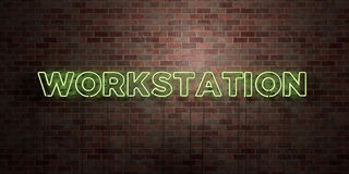 WORKSTATION - fluorescent Neon tube Sign on brickwork - Front view - 3D rendered royalty free stock picture Stock Photos