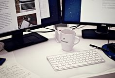 Workstation, Home Office, Computer Royalty Free Stock Images