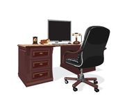 Workstation with a leather armchair Royalty Free Stock Images