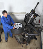 Workstation, maintenance vehicles, Worker operates the machine a Stock Image