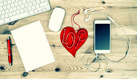 Workstation with Red Valentine Heart, Stationary and Office Supp Stock Photos