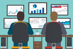 Workstation, web analytics information and development website s. Workstation, web analytics, information and development, business statistic. Illustration Royalty Free Stock Images
