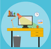 Workstation. Working place in flat style Stock Photo