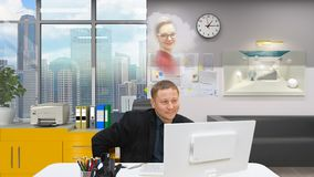 Workstation and a young man who dreams of a girl royalty free stock photo