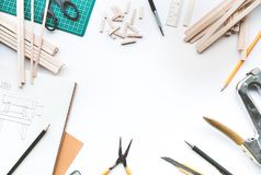 Worktable with balsa wood material.Diy,design project,invention. Concept ideas Stock Image
