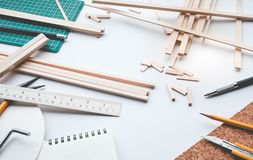 Worktable with balsa wood material.Diy,design project,invention Royalty Free Stock Photography