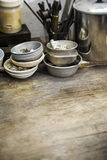 Worktable. Close up of a wooden table in a art and craft workshop Stock Photography