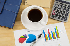 Worktable covered with business report Stock Photography