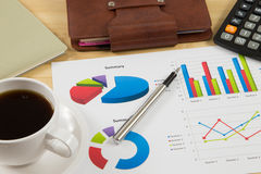 Worktable covered with business report Stock Images