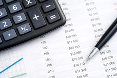 Worktable in the office calculator Royalty Free Stock Photos