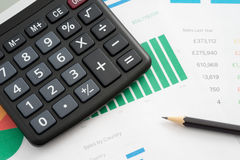 Worktable in the office. Calculator and pencil Royalty Free Stock Photos