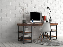 Worktable with Various Stuff Beside White Wall Stock Image