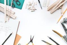 Worktable z balsowego drewna materiałem Diy, projekta projekt, wymyślenie Obraz Stock