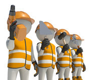Workteam in special clothes and helmet holding Stock Images