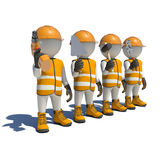 Workteam in special clothes, shoes and helmet Royalty Free Stock Photography
