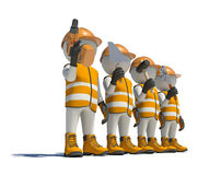 Workteam in special clothes, shoes and helmet Royalty Free Stock Images