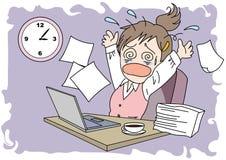Worktime bildkvinna - förvirring stock illustrationer