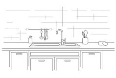Worktop de la cocina con el fregadero Ejemplo linear Fotos de archivo