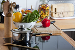 Worktop with many Kitchen Utensils Royalty Free Stock Photo