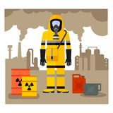 Workwear man in gas mask Stock Images