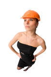 Workwoman. Isolated on the white background stock photo