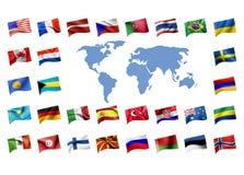 worl карты флагов Стоковая Фотография