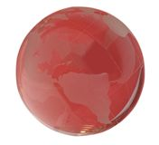 World. A crystal world in red background Stock Photo