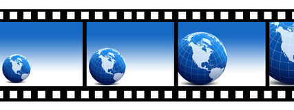 World. And film,globe and filmstrip,earth and blue background Royalty Free Stock Images