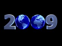 World in 2009. 3D metallic year 2009 with blue shiny globes on black background Stock Images