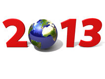 World 2013. A rendering of 2013 with world and white background Royalty Free Stock Image