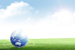 World. The world network on   field background Royalty Free Stock Photography